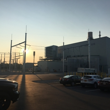Sunset over energy plant