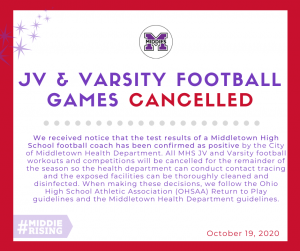 All MHS JV and Varsity football workouts and competitions will be cancelled for the remainder of the season