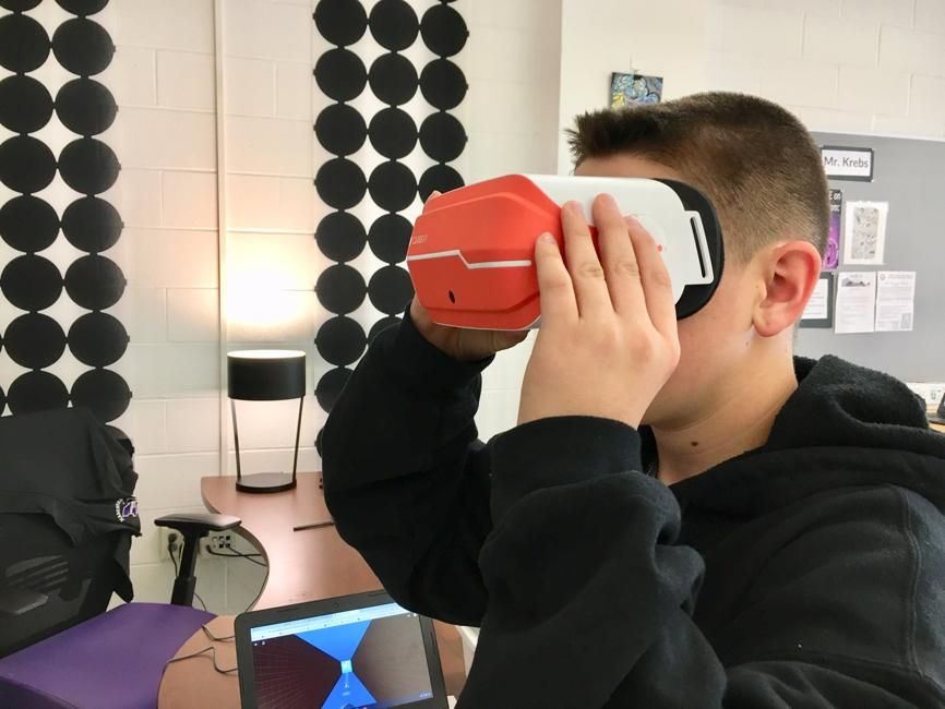 MHS Student with AR/VR Goggles