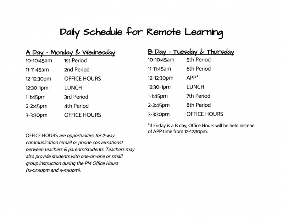 daily schedule - english