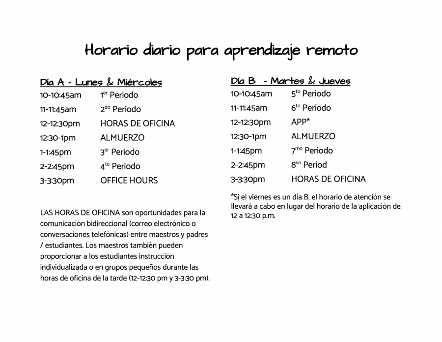 daily schedule - spanish