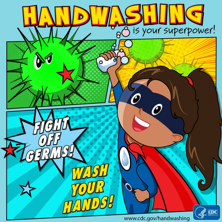 Handwashing supergirl