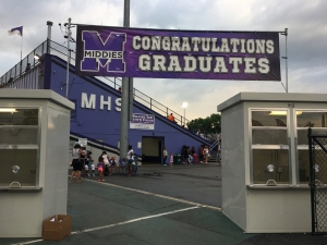Graduation sign at Barnitz Stadium
