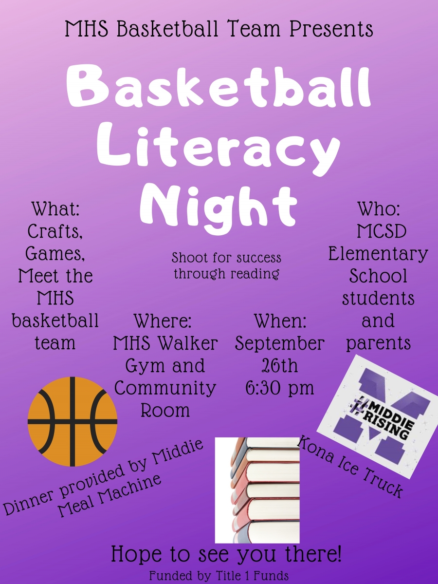 Basketball literacy night flyer
