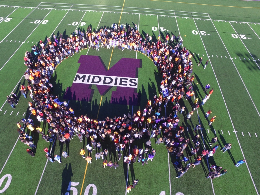 Drone shot of MHS field with students on unity day