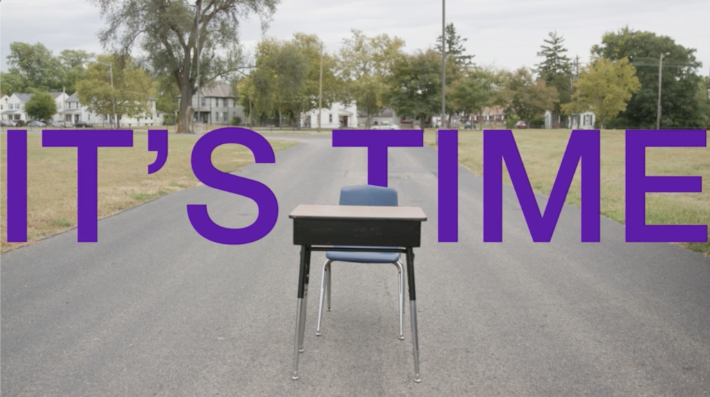 It's Time with image of empty desk in middle of street