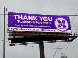 Billboard sign thanking Middletown Staff and Families